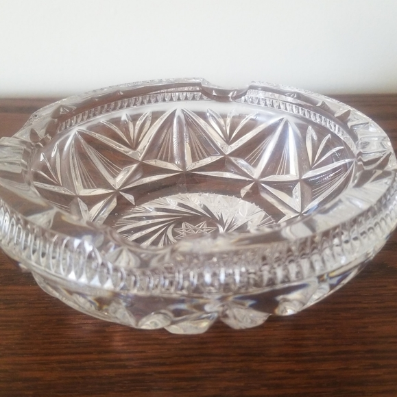 Vintage Czech Lead Crystal Ashtray Catch All